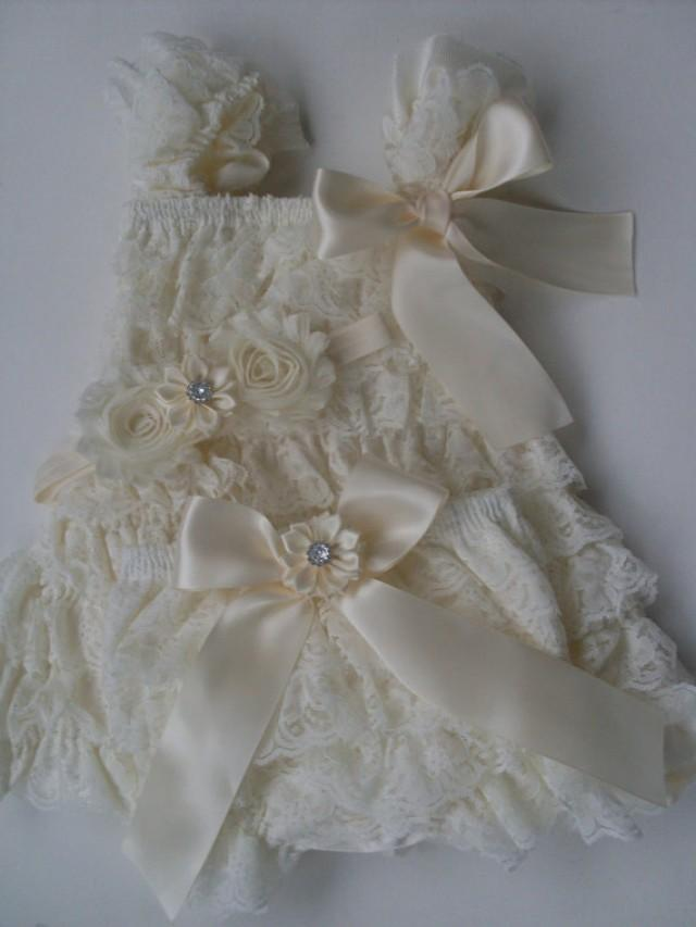 Wedding Dress Lace Flowers : Flower girl dress country wedding newborn take home outfit lace