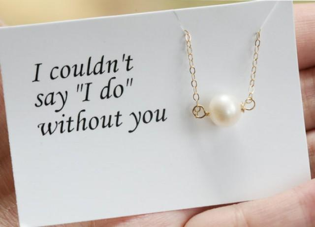 Pearl Necklace,Bridesmaid Gifts,Bridesmaid Thank You Cards, Wedding ...