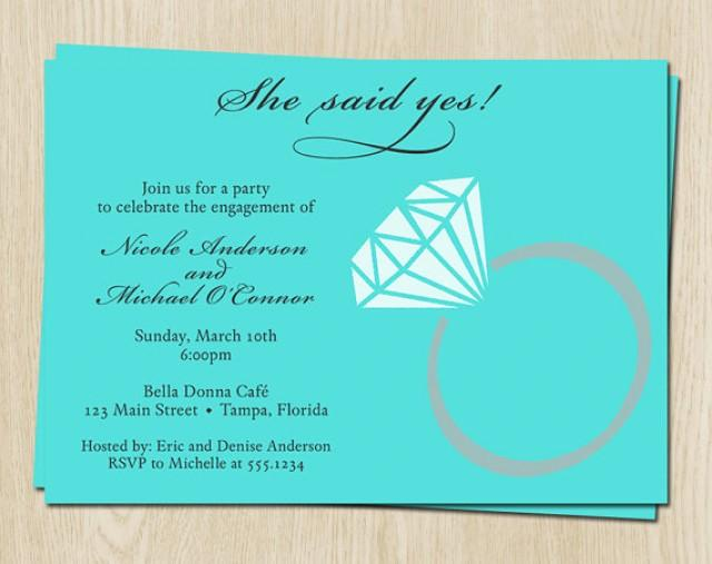 diamond ring engagement party invitations, blue, gray, wedding, Party invitations