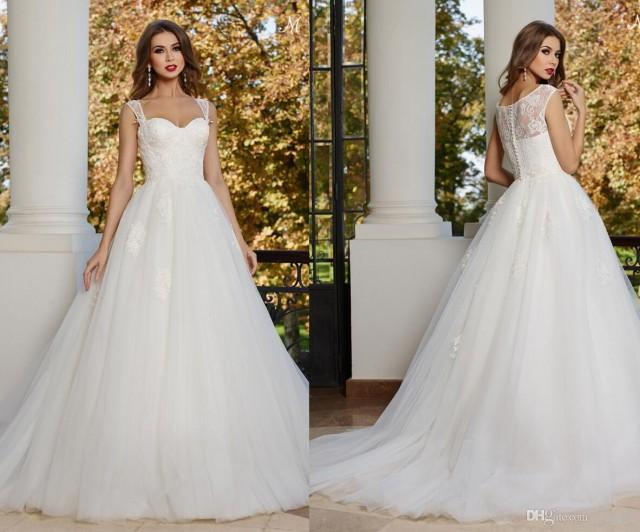 A Line Wedding Dress: 2015 New Arrival Sweetheart Neckline With Shoulder Strap