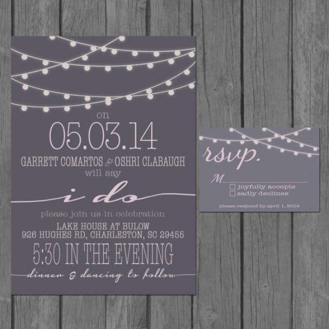 Simple Wedding Invitation Modern Strings Of Lights Engagement Party Invite Reception Only