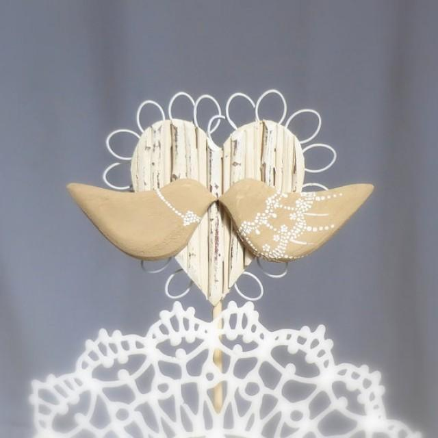 Rustic Wedding Topper Wood Love Birds Wedding Cake Topper