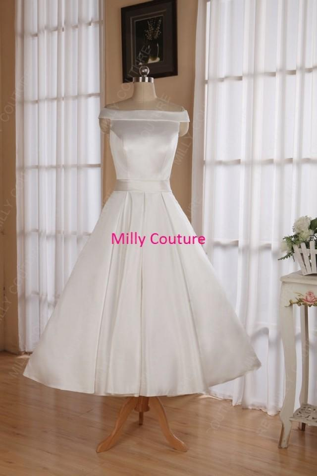 Off the shoulders tea length wedding dresses rockabilly for 50s inspired wedding dress