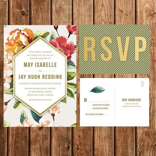 destination wedding invitation, beach, tropical, coral, green, Wedding invitations