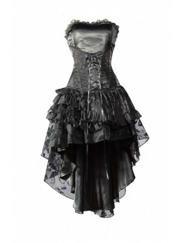 wedding photo - Black Corset High-Low Layer Skirt Gothic Party Dress