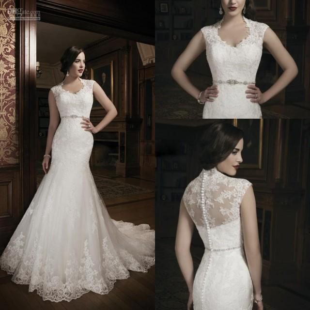 2014 New Style High Neck Mermaid Wedding Dresses Bridal Gowns Dresses For Chapel Wedding Bride
