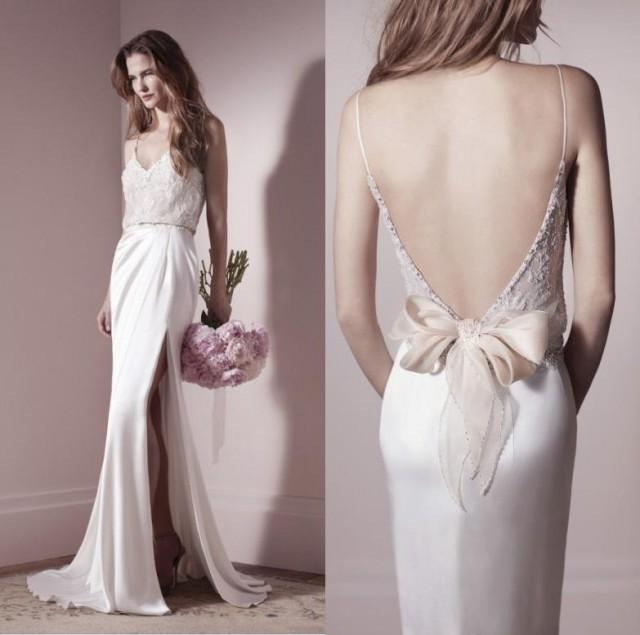 2014 new lihi hod designer spaghetti backless wedding dress sexy side slit elastic satin lace sweep train beach wedding dresses bridal gown online with