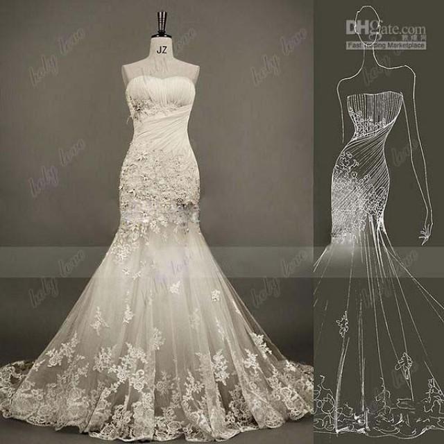 2014 new real image sweetheart rosette tulle applique for True mermaid wedding dresses