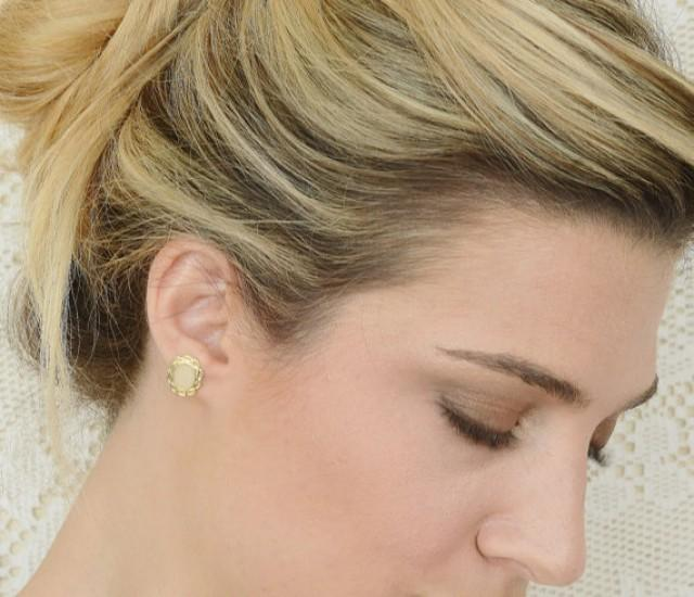 Gold And Ivory Flower Stud Earrings