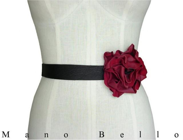 Leather flower belt bridal belt wedding dress belt tie for Wedding dress with red belt