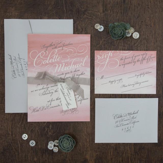 Rustic Backyard Wedding Invitations : weddinginvitationrusticinvitationwatercolorwashoutdoorwedding