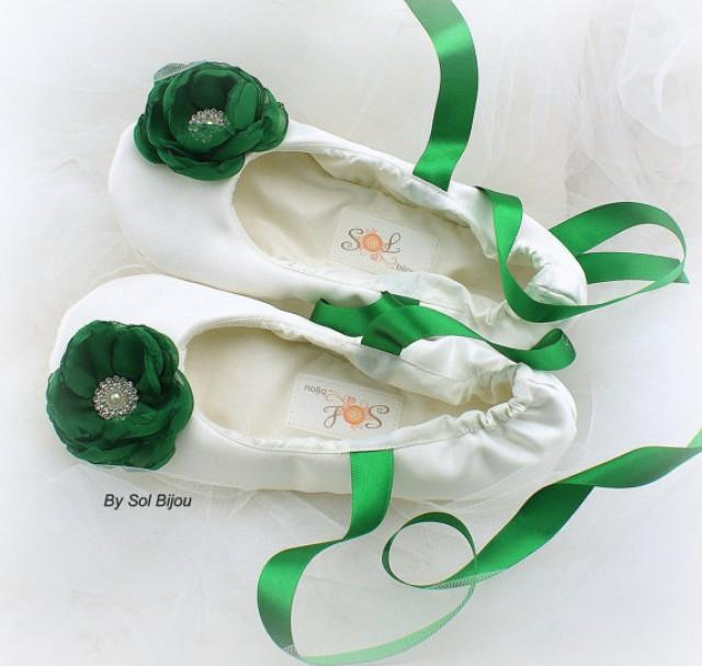 bridal ballet flats ballerina slippers in ivory and emerald green with handmade flowers and. Black Bedroom Furniture Sets. Home Design Ideas