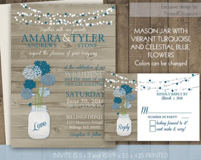 Rustic Wedding Invitation Set Mason Jar Wood And Hanging Lights 2275704 Weddbook