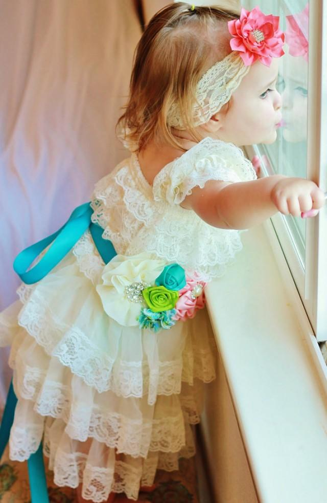 Ivory Lace Baby Dress With Peach Coral Teal Sash And