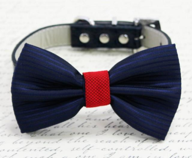 Navy/Red Dog Bow Tie, Pet Wedding Accessories, Pet