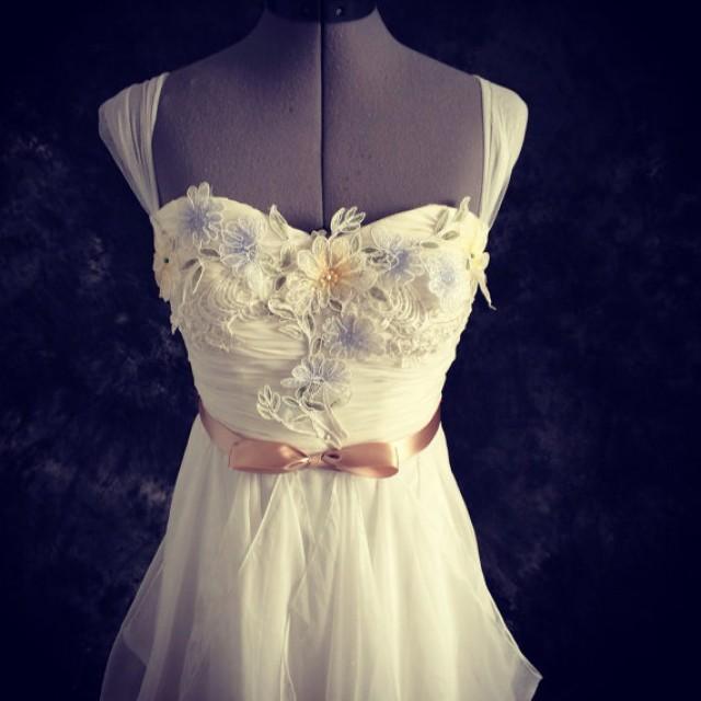 Perfect soft white chiffon and lace wedding dress illusion for Illusion sweetheart neckline wedding dress