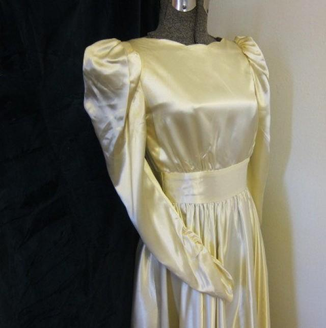 Vintage SATIN Wedding Dress 70s Does 40s #2277231