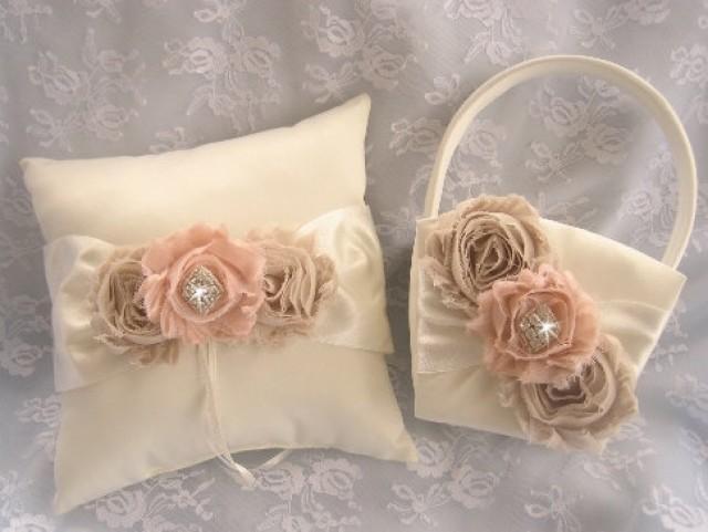 Vintage Flower Girl Basket And Ring Bearer Pillow : Champagne and rose basket set ring bearer pillow flower