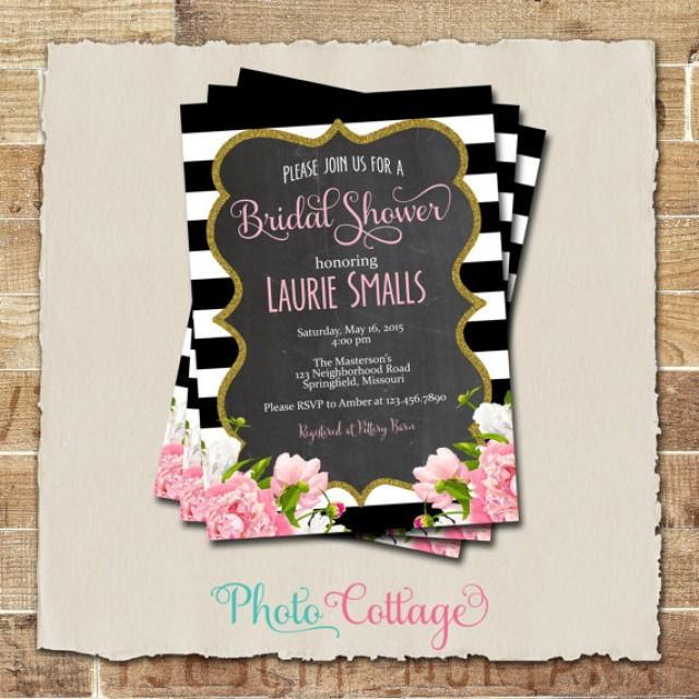 Bridal shower invitation glitter gold invitation peony for Black and gold wedding shower invitations