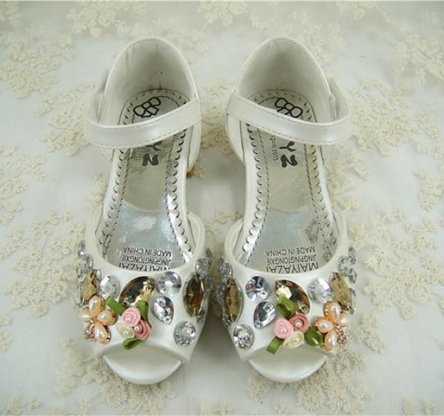Flower Girl Shoes Pearl Wedding Shoes Crystal Girl Shoes Peep Toe