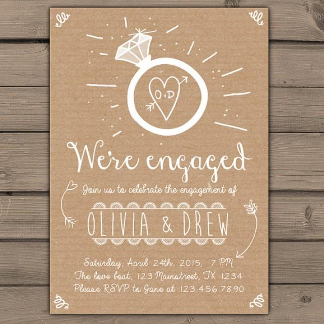 Engagement party invitation engagement party invite for Pictures of wedding rings for invitations