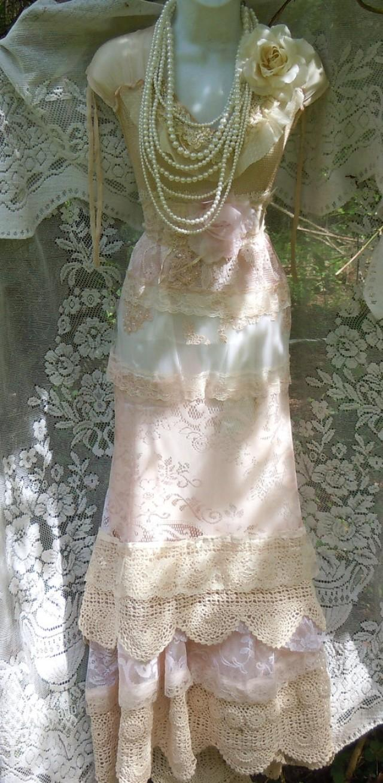 Blush wedding dress lace crochet mermaid flapper edwardian for Blush vintage wedding dress