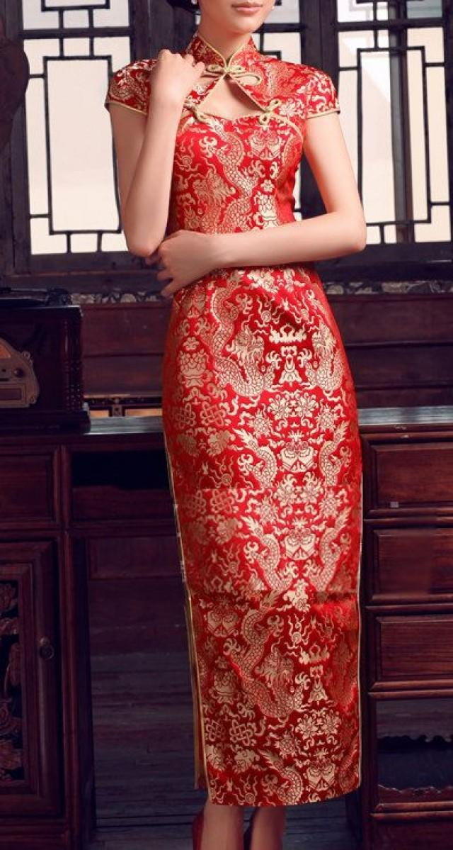Traditional Chinese Wedding Gown Dinner Dress Cheongsam In
