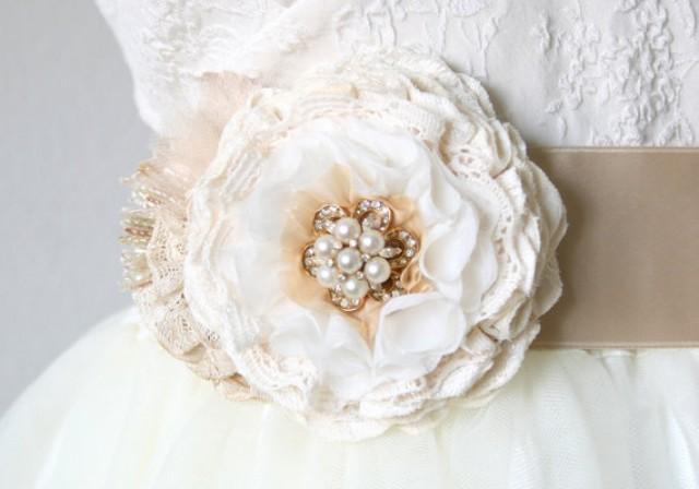 Fabric flower wedding sash with vintage pearl and for Ivory wedding dress belt