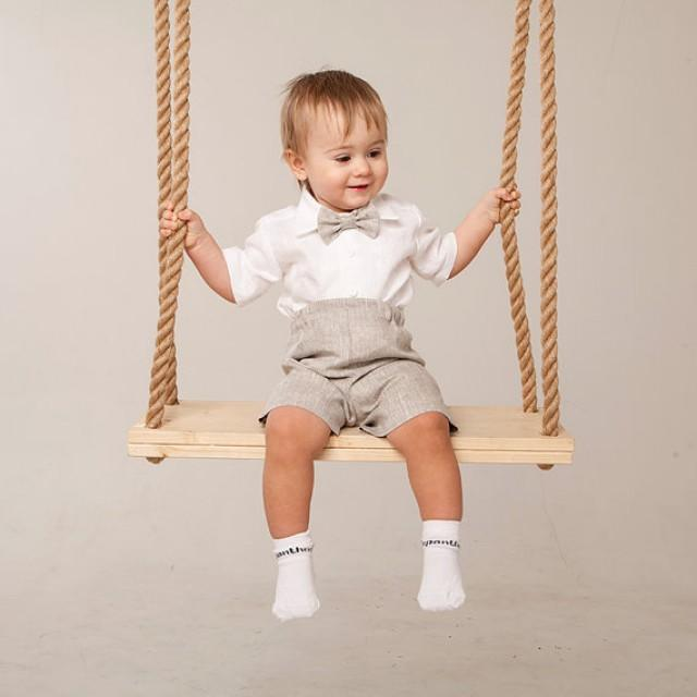 Baby Boy Linen Suit Wedding Ring Bearer Outfit Boy Natural