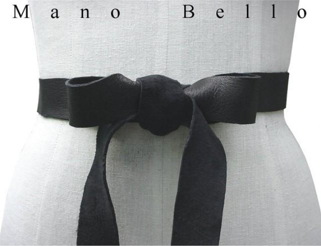 Soft leather bow belt black leather ribbon tie on belt for Leather wedding dresses black