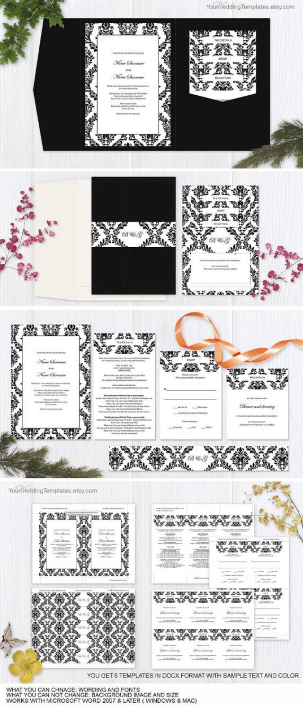 wedding photo - Black and white damask- pocket fold wedding- invitation set templates-Printable pocketfold wedding invite templates