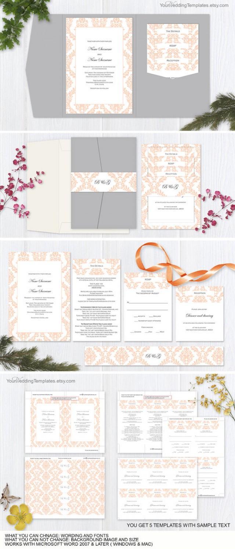 wedding photo - Peach wedding pocketfold invitation suite templates