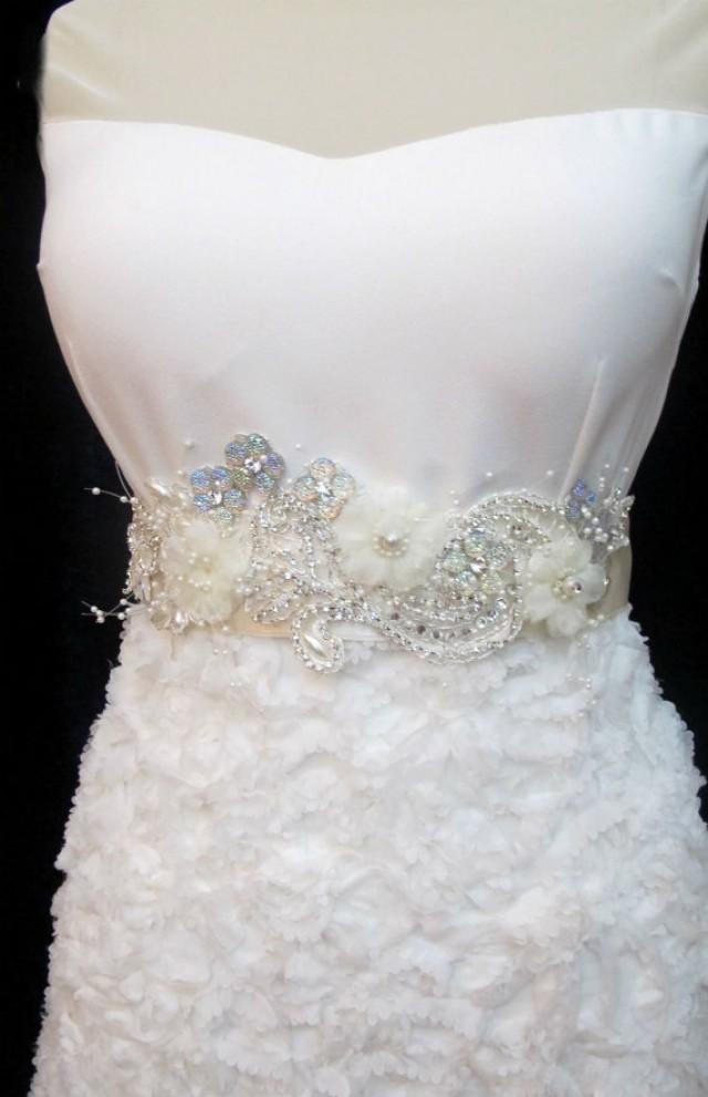 beaded flower belt bridal wedding rhinestone sash bridal