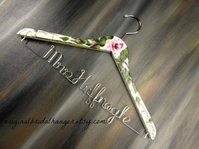 Shabby chic hangers wedding dress hangers crackled painted for Wedding dress hanger amazon