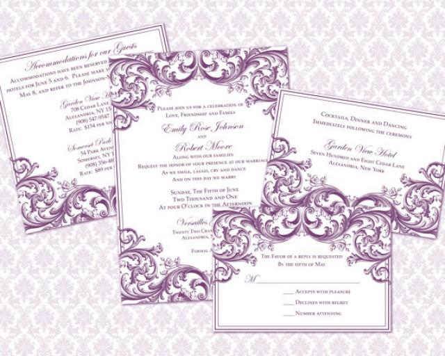 DIY Wedding Invitation Template Set (5x7 Invitation & Enclosure ...