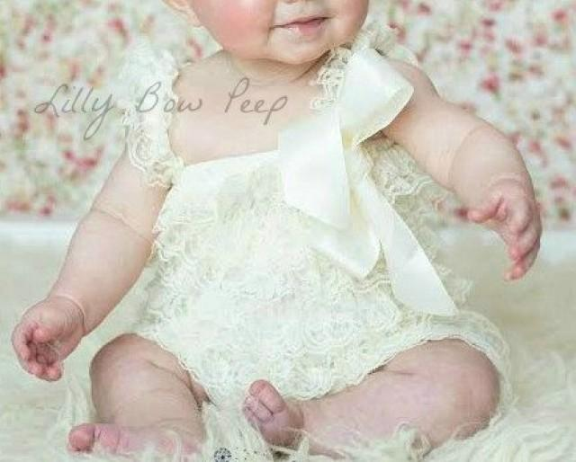 Ivory Lace Romper Baby Girl Clothes Preemie Newborn Girl