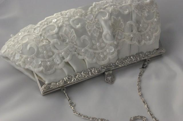 Lace Bridal Clutch - Ivory Satin And Lace Bridal Handbag - Wedding Clutch Bag - Sequin And Pearl ...