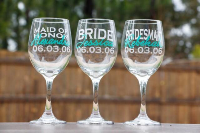 Engraved Wine Glasses For Wedding Gift : ... wine-glasses-bridesmaid-gifts-wedding-party-gifts-personalized-wine