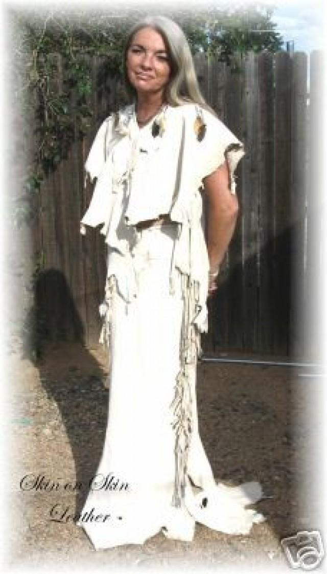 Leather Deerskin Wedding Two Piece Outfit Dress Native American