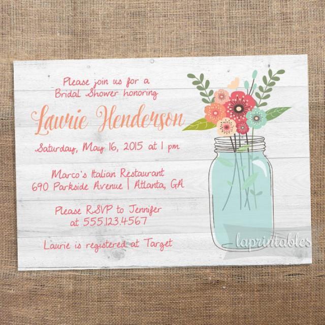 rustic mason jar invite   printable bridal shower