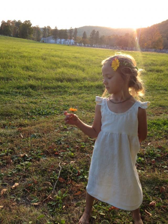 Simple linen flower girl dress rustic wedding barn for Country wedding flower girl dresses