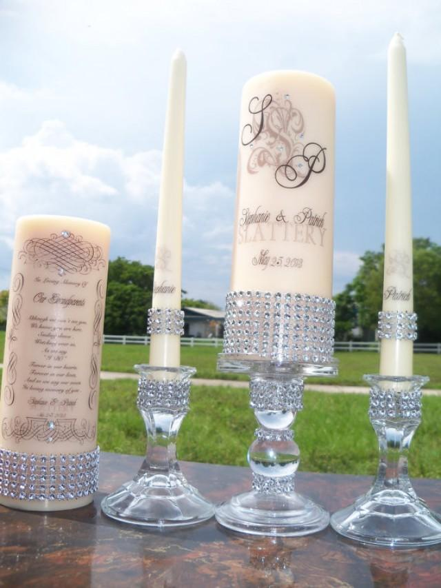 Ivory unity and memorial candle set holders included