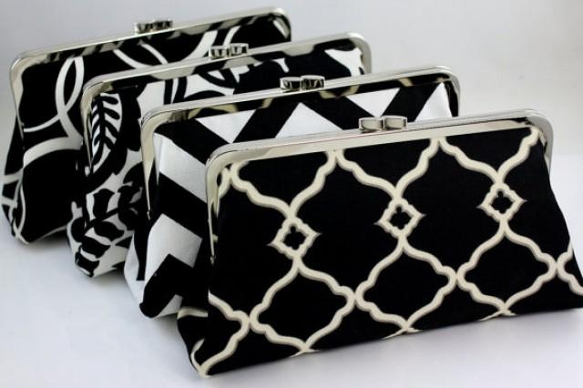 wedding photo - Black & White Bridesmaid Clutches / Wedding Gift / Wedding Purse Clutches / Design your Own Clutches - Set of 9