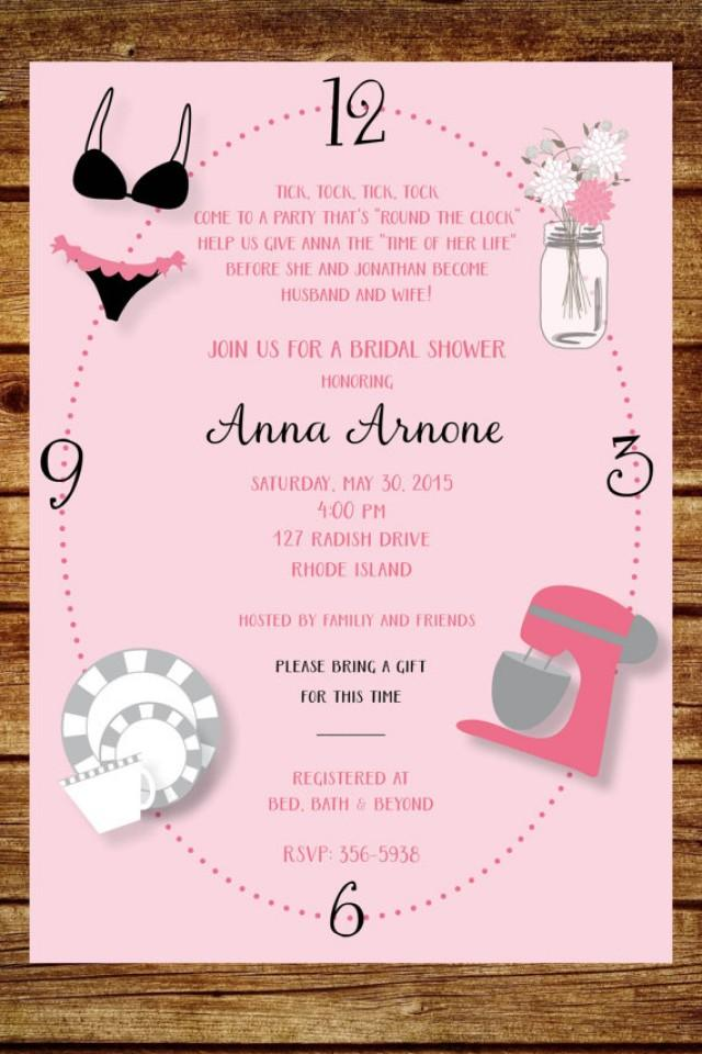 Around the clock wedding shower invitation custom around for Custom wedding shower invitations