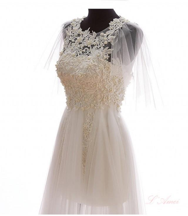 Boho style short lace wedding dress with small shawls and for Shawls for wedding dresses