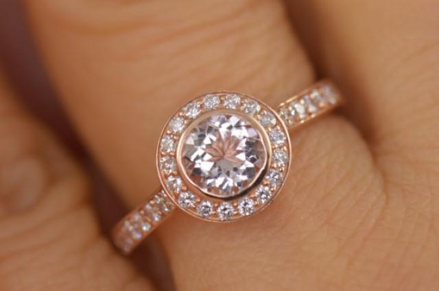 Elizabeth Pink Morganite And Rose Gold Round Bezel Halo Engagement Ring 228
