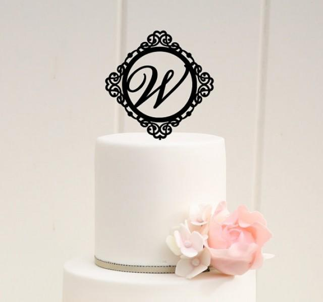 Design Your Wedding Cake Topper : Monogram Wedding Cake Topper Ornate Design Personalized ...