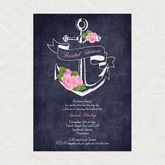 Anchor Away Printable Bridal Shower Invitation Digital