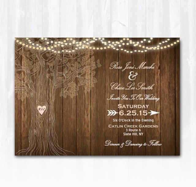 rustic tree wedding invitation diy printable digital file or print extra wood wedding. Black Bedroom Furniture Sets. Home Design Ideas