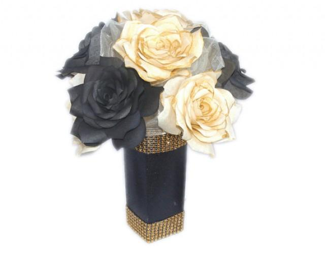 Gold centerpieces black wedding decor gold bridal decor for Gold home decorations